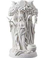 QKFON De Triple Godin Beeldhouwkunst Keltische Heilige Maan Drievoudige Godin Moeder Maiden Kroon Onder Boom van Leven Standbeeld Hecate Brigid Decor Tuin Sculptuur Decoratieve Beeldje Kosmisch 26cm