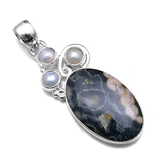 - Silver Palace 925 Sterling Silver Natural Ocean Jasper Pendants for Women and Girls