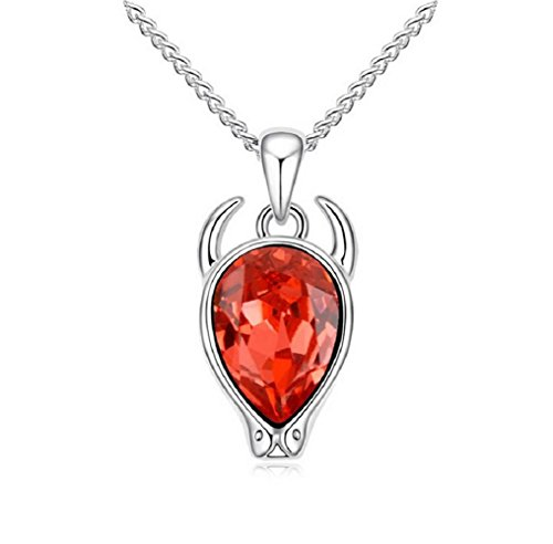 Yuriao Jewelry Elegant Fashion 18k Constellation Taurus Crystal Pendant Necklace£¨red£