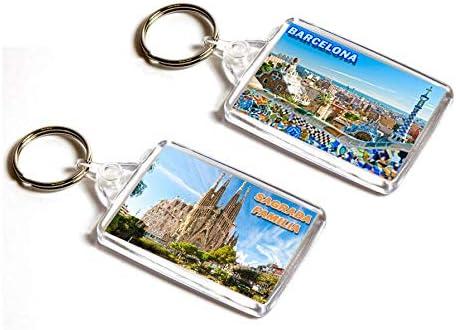 AWS Bermuda Juego de 2 Llavero Barcelona España Sagrada Familia Barcelona Spain Key Ring Espana: Amazon.es: Coche y moto
