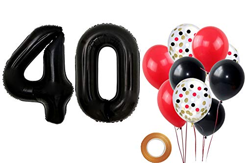 FUNPRT 40 inch Black Number 40 Foil Balloon Black Red Confetti Balloons,Great 40th Birthday Party,40th Anniversary Event Decorations