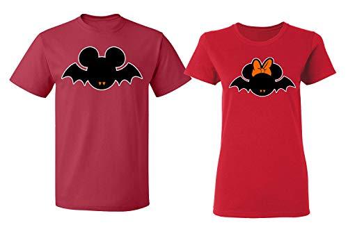 Disney Mickey Minnie Mouse Bat Halloween Costume Tee Shirt Couple for Men -