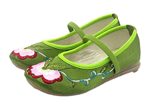 Soojun Little Kid Embroidery Oxfords Sole Elastic Mary Jane Flats, US 8