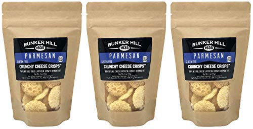 Bunker Hill Crunchy Cheese Crisps 100% Cheese High Protein, Gluten Free, Low Carb, Keto Snacks 2 Ounce Bag (Parmesan, 3 Pack)