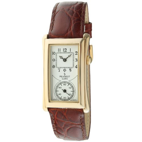 Peugeot Vintage Unisex 14K Gold Plated Contoured Dial Brown Leather Band Doctors Nurse Watch - Wrist Plated Gold White Watch