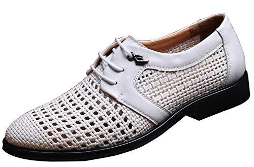 MYXUA Herren Sommer Hohlsandalen Derby Schuhe Business Casual Schuhe Handgewebt Atmungsaktiv 4