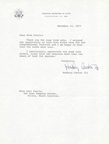 Hodding Carter III Typed Letter Signed 11/15/1977