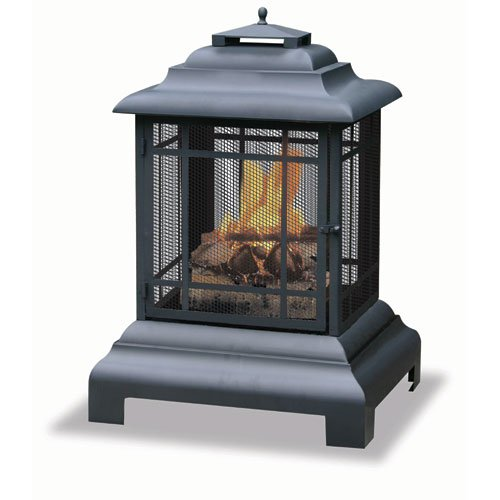 - Uniflame Black Outdoor Fireplace-Firehouse