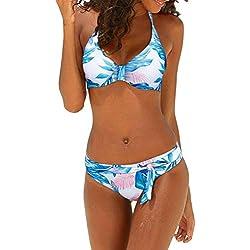 Dokotoo Womens Fashion Beach Push Up Sexy Backless Leaves Print Bandeau Brazilian Sexy Bikini Set Halter Slim Bathing Suit 2 Piece with Tie Swim Briefs Swimsuit Swimwear Medium