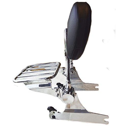 - TJMOTO Chrome Adjustable Detachable Passenger Backrest Sissy Bar Luggage Rack For 2000-2005 Harley Davidson Softail Model