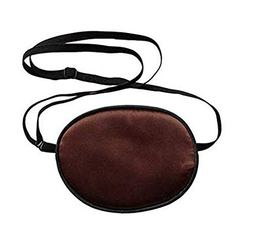 1 Pcs Adult Size Silk Brown Single Eye Patch Pirate Eye Patches Soft and Comfortable Eye Mask with Elastic Adjustable Strap for Adults Amblyopia Strabismus Lazy Eye -
