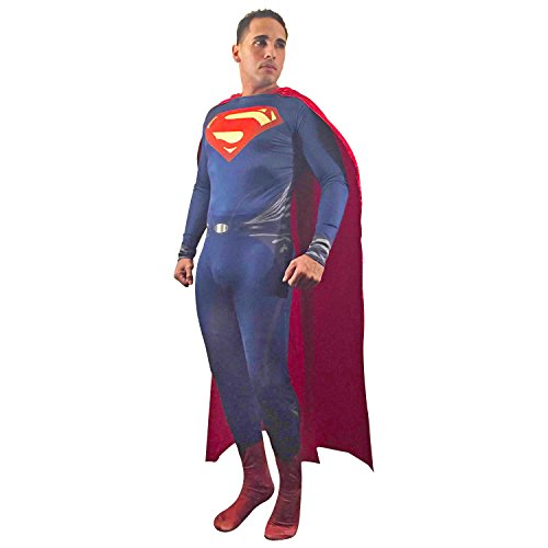 Adult Superman of Steel Costume Superhero Cosplay Zentai Cape (3X-Large, Red) (Superman Adult Costume)
