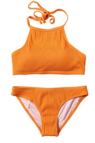 CharmLeaks Womens Bikinis High Neck Two Piece Bikini Swimsuit Halter Bikini Top,Solid Orange,XX-Large