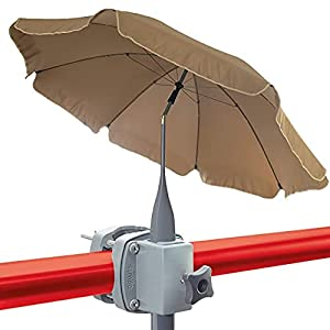 4smile set – parasol + soporte sombrilla barandilla de balcón SunnyBoy – parasol de balcón de 200cm SunnyJoy con soporte, plegable, protección solar UV 50+