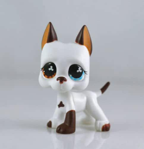 good luck store LPS Littlest Pet Shop White & Brown Great Dane DOG Puppy Blue Eye TOY