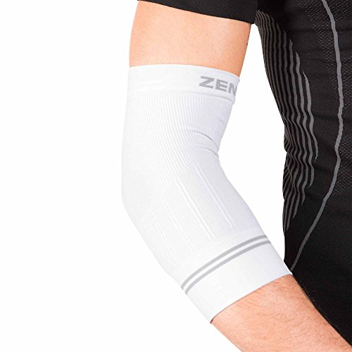 Zensah Compression Tennis Elbow Sleeve for Elbow Tendonitis, Tennis Elbow, Golfer's Elbow - Elbow Support, Elbow Brace,Medium,White