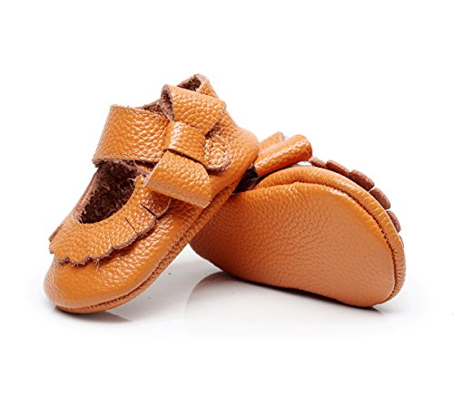 Leather Brown Lites (R&V 0-24M Infant Girls Moccasins 100% Real Leather Soft Sole Bowknot Toddler Girl Shoes Princess Firstwalkers (Inner Length: 14cm(18-24M), Light Brown))