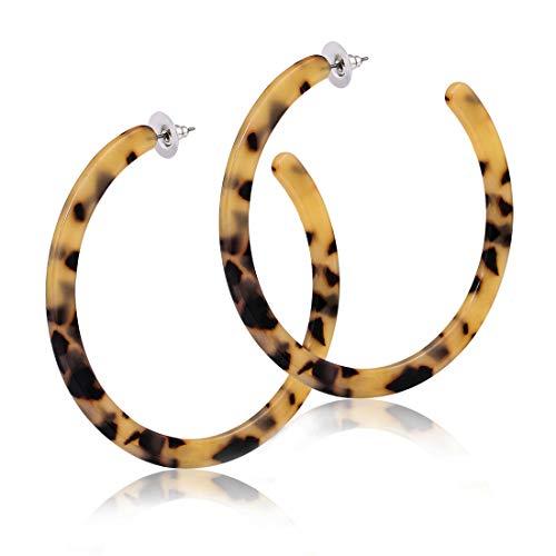 Acrylic Earrings Resin Hoop Earrings Mottled Leopard Round Circle Statement Earrings for Women Girls (B: 5 Leopard Medium)