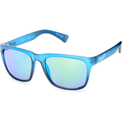 Neff Chip Shades Translucent Blue with Green Mirror Lens Daily Sunglasses + Neff - Neff Wayfarer Sunglasses