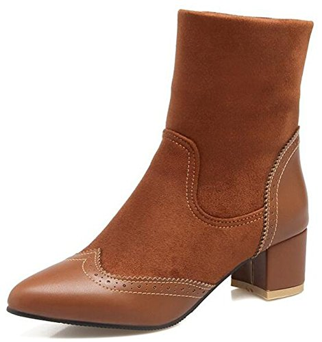 IDIFU Womens Vintage Pointed Toe Mid Chunky Heels Spliced Pull On Brogues Ankle Boots Brown