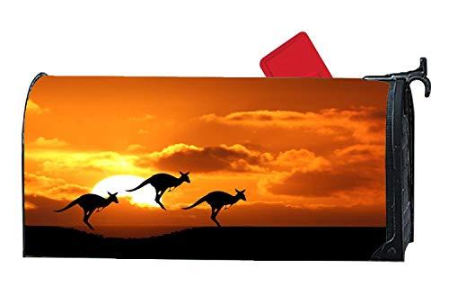 Sunset Animals Kangaroo Customized Magnetic Mailbox Cover Home Garden Mailbox Wraps