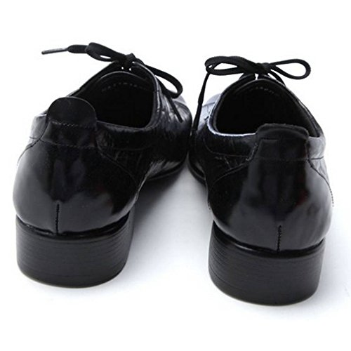 Epicstep Mens Sylish In Vera Pelle Scarpe Abito Formale Business Casual Lace Up Oxfords Mocassini Neri