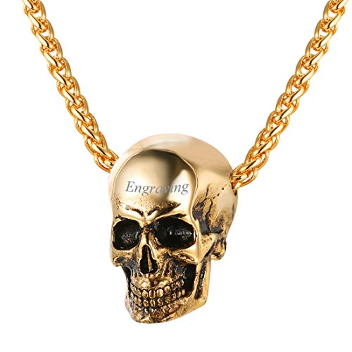 U7 Men Silver Black Gothic Skull Necklace 18K Gold Plated Stainless Stee Pendant on 22