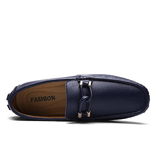 Lining Loafers Blue On Slip Classic Go b Dress Tour shoes Casual Mens Leather znPUWqgW8x