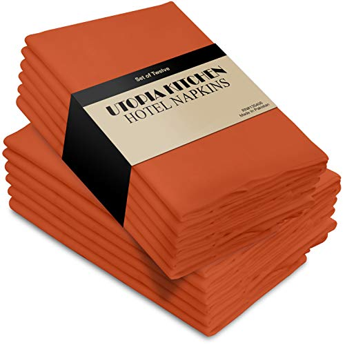 Utopia Kitchen Cloth Napkins, 12 Pack (18 x 18 Inches), and Absorbent Orange Dinner Napkins (Holder Wooden Napkin Turkey)