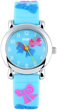 BesWLZ Kids Outdoor Sports 30M Waterproof Watches with Cartoon Strap Children's Dress Watch Light Blue