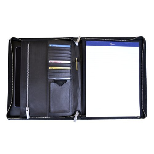'James' Zippered Writing Padfolio (Black) (1.035H x 11W x 13.25D) by Royce Leather by Royce Leather