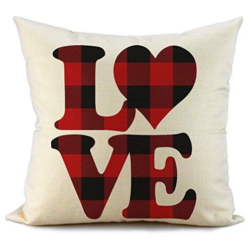 FIBEROMANCE Valentines Red and Black Buffalo Check Plaid Love Pillow Covers Decorative Cushion Case for Sofa Couch Bedroom Spring Home Decor Cotton Pillowcase 18 x 18 - Heart Pillow Plaid