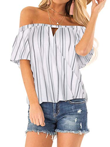 Knot Neckline Top - Junior Off Shoulder Hawaii Cutout Tops Casual Wrap V Neck Striped Shirts White L