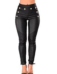 0688805a7bb YACUN Women PU Leather Skinny Leggings High Wasit Pencil Ankle Pants Black  XL
