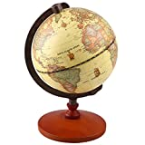 Vintage World Globe Antique Decorative Desktop Globe Rotating Earth Geography Globe Wooden Base Educational Globe Wedding GIFT With Magnifying Glass (5' Diameter)