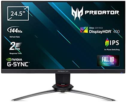 Acer Predator XB3 (Predator XB253QGP) 62 cm (24,5 Zoll) IPS ZeroFrame Monitor (HDMI(2.0), DP(1.2a), Full-HD 1920x1080, Fast LC 1ms (G2G), 144Hz, 400 Nits, Höhenverstellbar, G-SYNC Compatible)