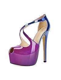Mermaid Women's Shoes High Heel Criss Cross Platform Shoes