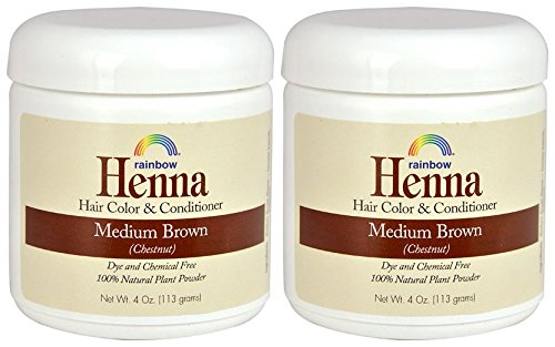 Rainbow Research Henna Medium Brown Hair Color and Conditioner (Pack of 2) With Indigofera, 4 oz. each. by Rainbow Research