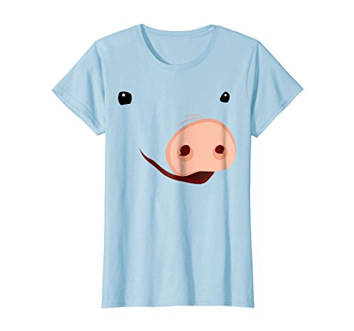 Womens Pig Face T-Shirt | Funny Cute Animal Halloween Costume Medium Baby (Funny Halloween Animals)
