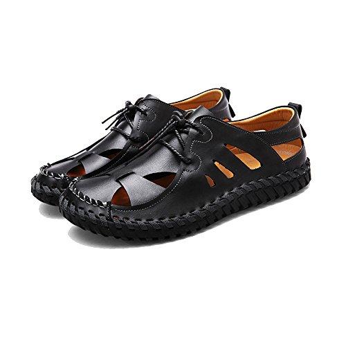 42 uomo da traspiranti 3 Color in Black pelle regolabili sandali sandali antiscivolo 2 Black spiaggia da Sandali Size EU 65dpwq6