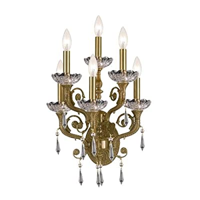 Crystorama 5176-AG-CL-S, Regal Candle Crystal Wall Sconce Lighting, 6 Light, 360 Total Watts, Brass
