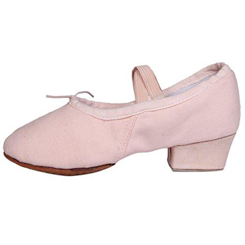 Azbro Mujer Zapato de de Baile de Lona de Zapato Talón Grueso Puntera Redonda 863e4a