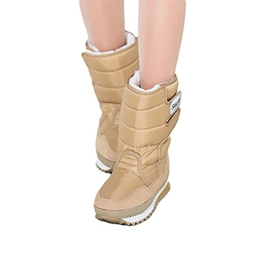 Furry Women's Space boots Waterproof Girl's snow Short Colorful Velcro boots Khaki Fortuning's Winter Sakura JDS boots WASgOn1X