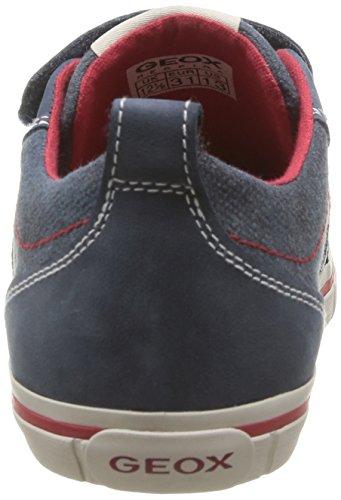 Geox J Kiwi B E - Zapatillas de Deporte de cuero niño azul - Bleu (Navy/Red)