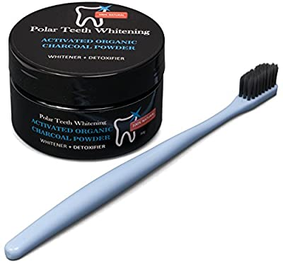 All Natural Teeth Whitening Charcoal Powder and Super Soft Charcoal Toothbrush Set is Made From Organic Activated Coconut - Whitens Teeth, Freshens Breath, Detoxes Naturally