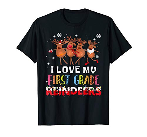 I Love My 1st Grade Reindeers Christmas Tshirt Teacher -