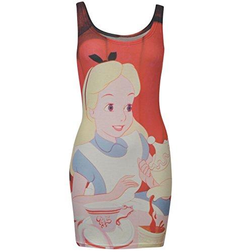 Disney Alice au pays des merveilles robe courte moulante pour femme Rouge/multicolore Personnage robe