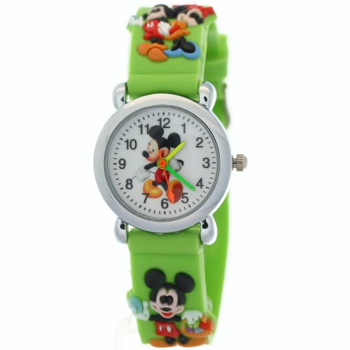 Timermall Cartoon Micky Mouse Green Digital Rubber Watches
