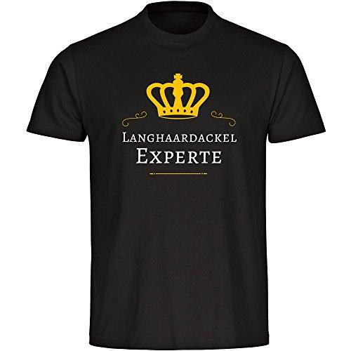 T-Shirt Langhaardackel Experte schwarz Herren Gr. S bis 5XL