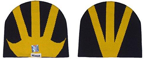 - Michigan Wolverines NCAA Helmet Logo Navy and Yellow Knit Beanie Hat